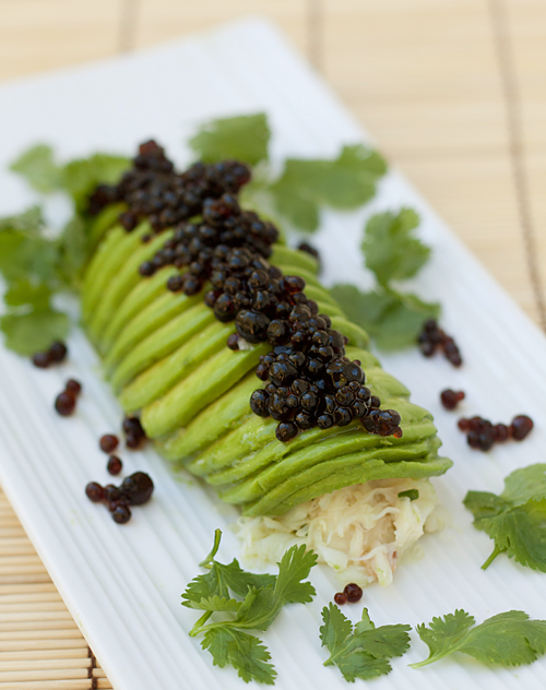 California Avocado Crab Roll with Soy Sauce Caviar