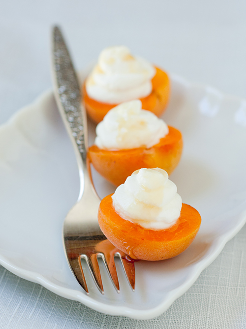 Fresh Apricots filled with Goat Cheese Mousse