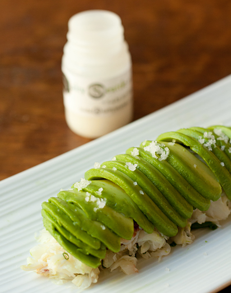 Garnish the Avocado Crab Roll with coarse sea salt