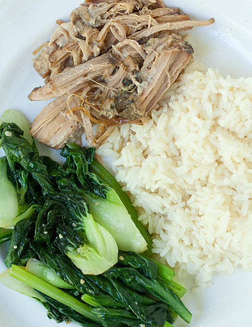Stir Fried Asian Greens with Slow Cooker Kalua Pork