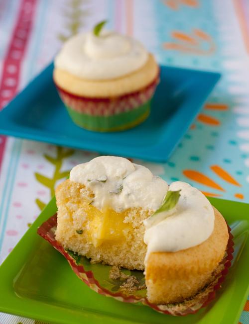 Lemon Basil Mochi Cupcakes