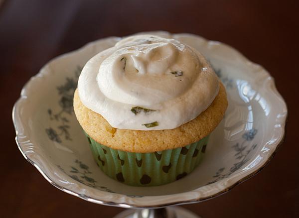 Lemon Mochi Basil Cupcake