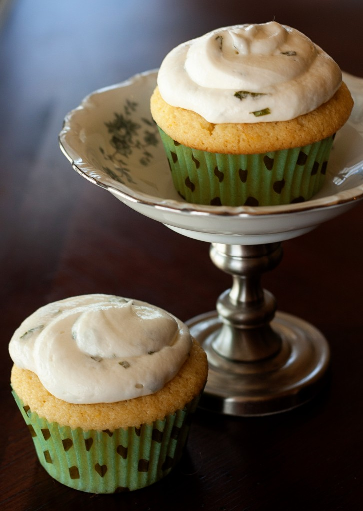 Lemon Mochi Cupcakes with Lemon Basil Buttercream Frosting