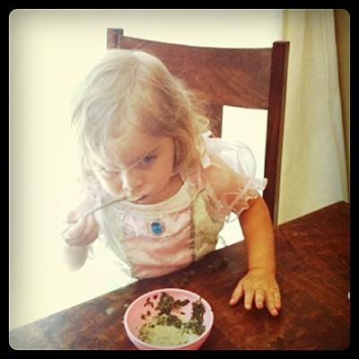 Bug inhaling her Salad Soup