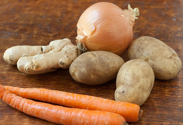 Onion, ginger, potatoes, and carrots