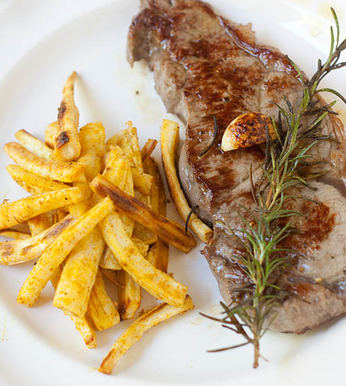 Roasted Parsnip Fries and Steak