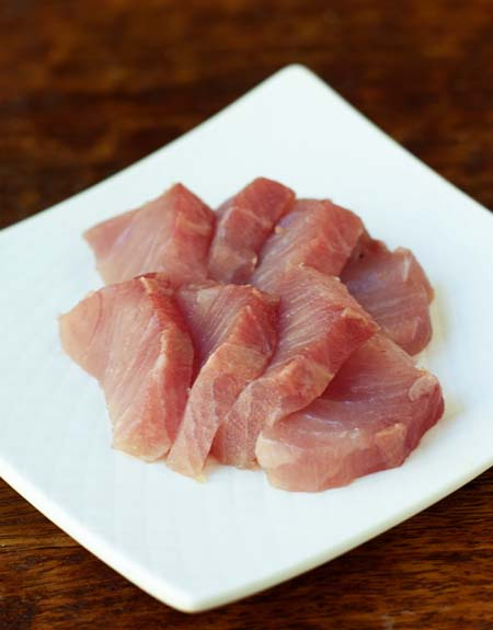 Slices of fresh sustainable hamachi