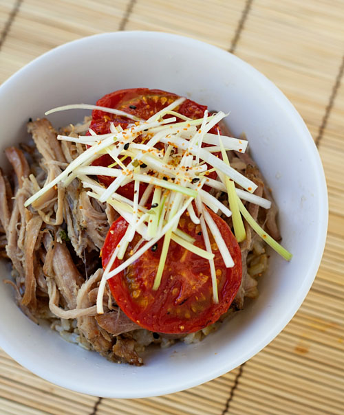 Pulled Pork & Roasted Tomato Donburi