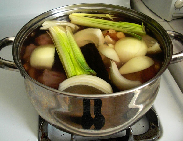 Making the oxtail broth