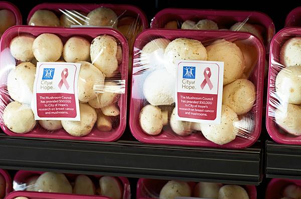 Mushrooms dressed in pink