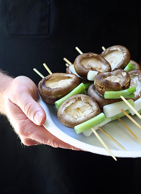 Shiitake mushrooms ready to grill