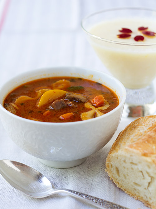 Tuscan-style Beef & Vegetables Soup with bread and Tart Apple Yogurt Pudding