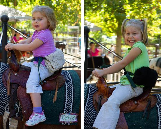 Bug and Squirrel enjoying pony rides