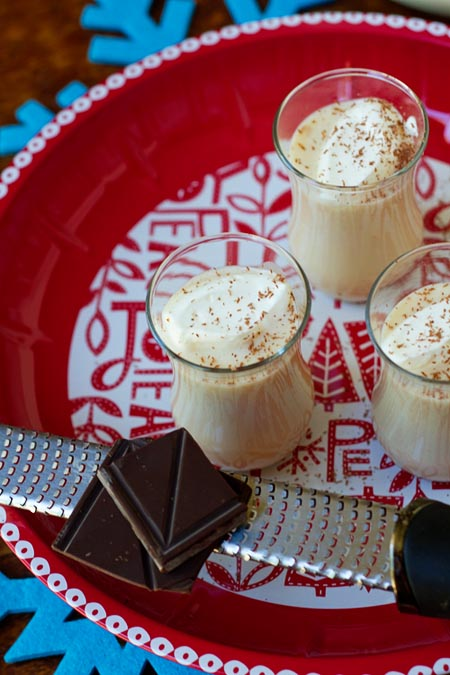 Chocolate Egg Nog with Shaved Chocolate