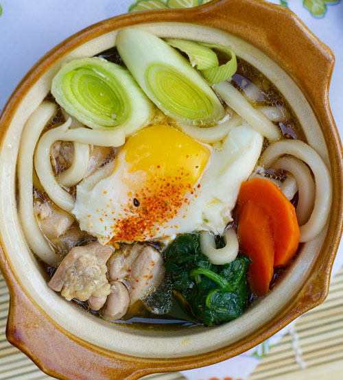 Three Mushroom Vegetarian Nabeyaki Udon Recipe — Dishmaps