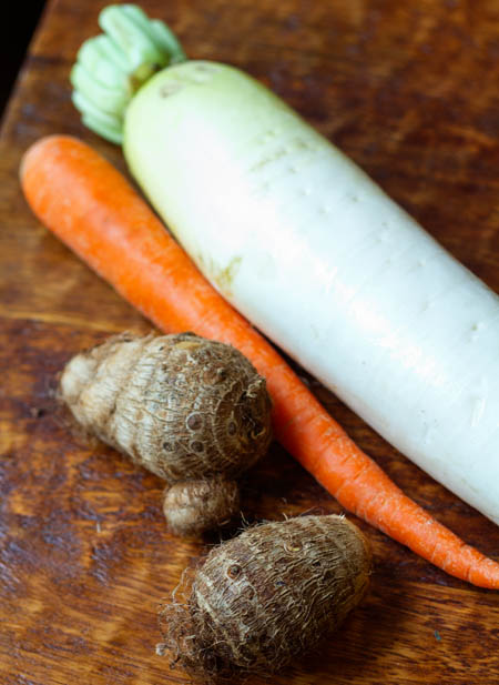 Satoimo, carrot, and daikon