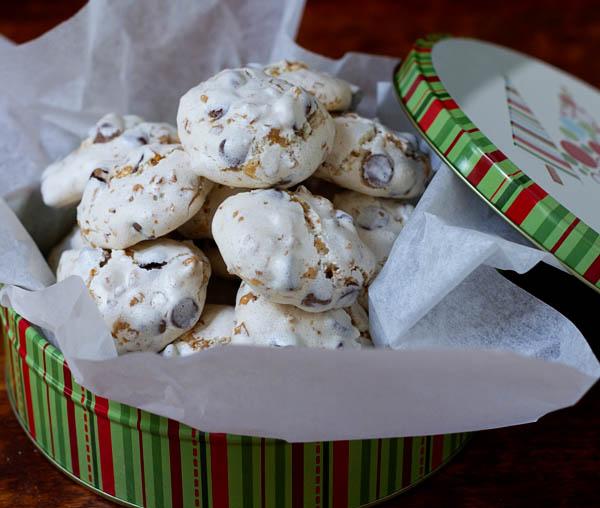 Chocolate Toffee Meringue Cookies