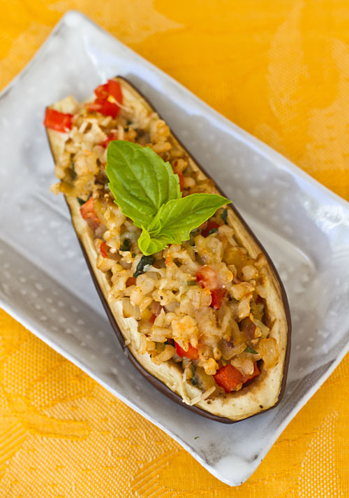 Brown Rice & Veggie Stuffed Japanese Eggplant