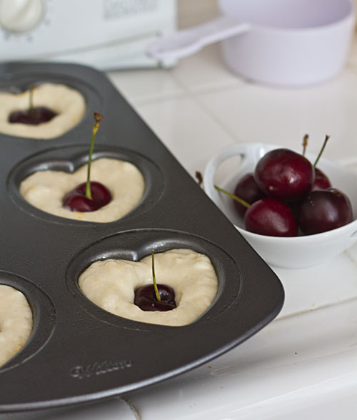 Push a cherry into the batter