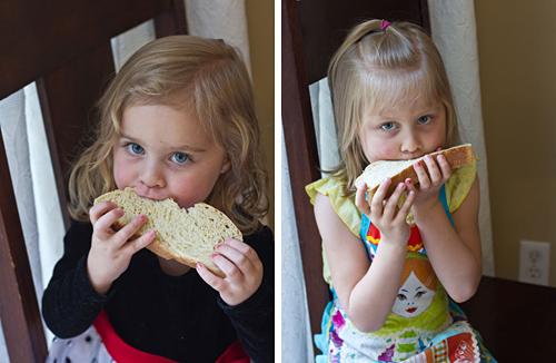 Eating fresh homemade bread