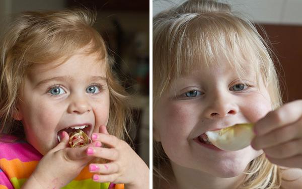 Fujlings eating endive nachos