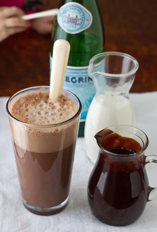 Mixing a chocolate egg cream together