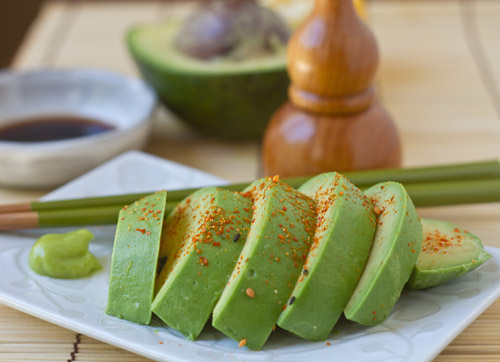 Avocado Sashimi with Shichimi Togarashi, Soy Sauce and Wasabi