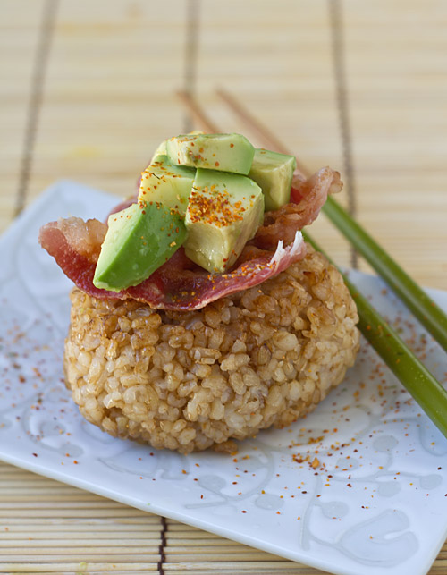 Brown Rice Yaki Onigiri with Bacon and Avocado Recipe — La Fuji Mama