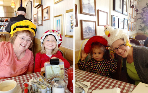 Crazy hats at Annie's Cafe