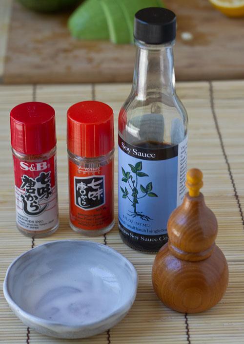 Shichimi Togarashi and Soy Sauce