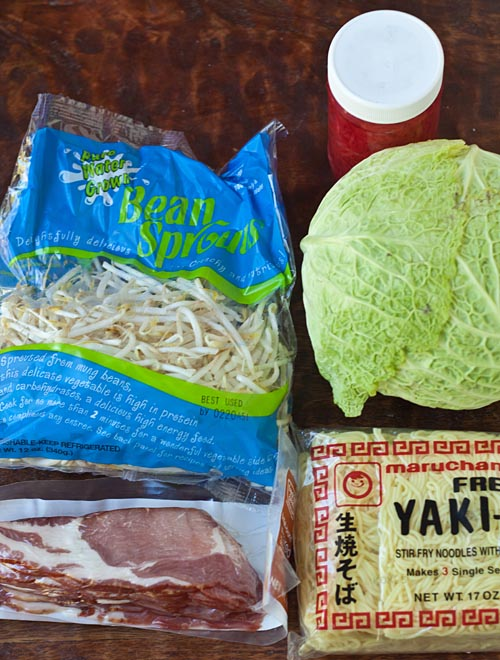 Ingredients for yakisoba