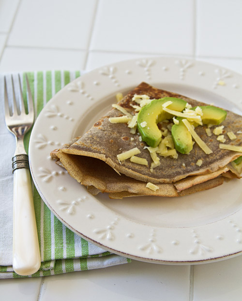 Buckwheat Crepes with Aged Cheddar Cheese and Avocado