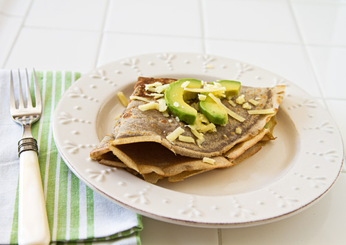 Cheesy Avocado Buckwheat Crepes