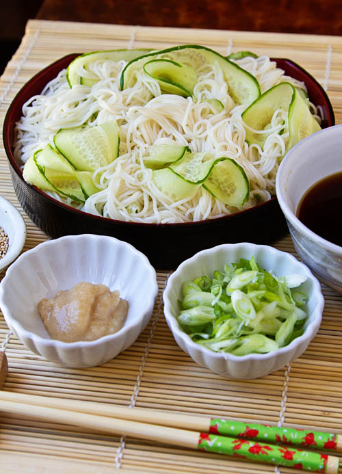 Hiyashi Somen (Japanese Chilled Somen Noodles with Dipping Sauce)