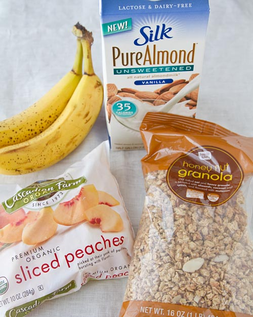 Banana Peach Almond Breakfast Milkshake ingredients