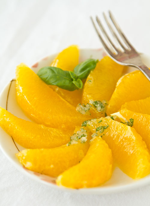 Orange Slices with Basil Lime Sugar