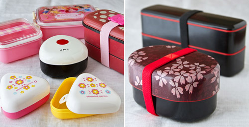 Different kinds of Japanese bento boxes