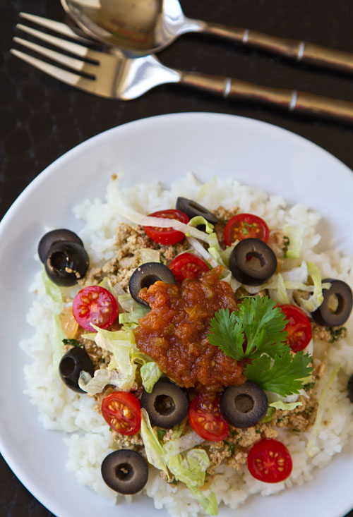 Vegetarian Taco Rice with California Ripe Olives
