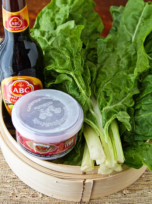 Ingredients for stir-fried Asian greens