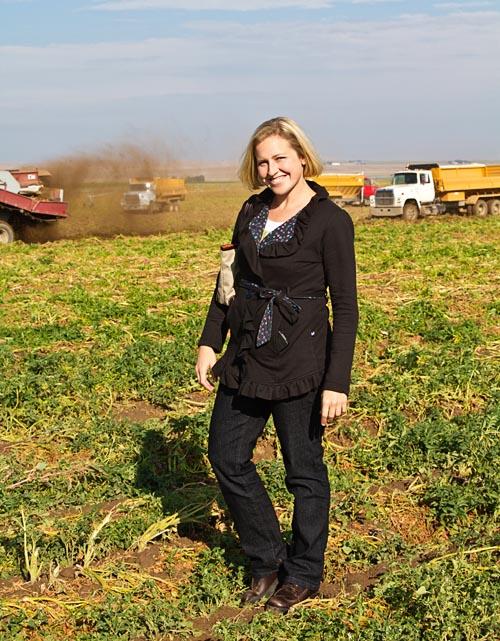 Rachael in a potato field