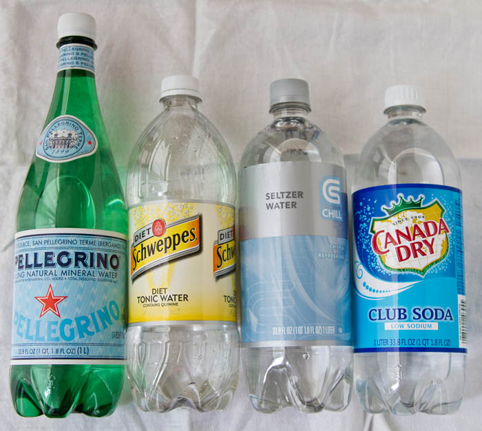 Different types of sparkling water