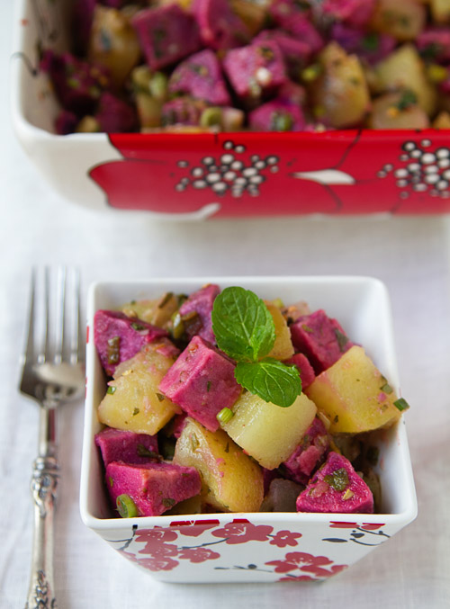 Serving Golden Purple Potato Salad