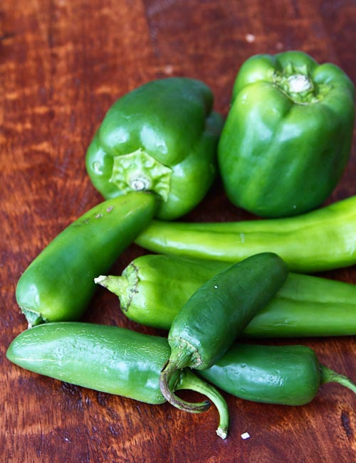 Green Bell Peppers, Anaheim Peppers, Jalapeno Peppers