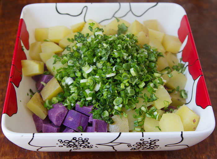 Making Golden Purple Potato Salad