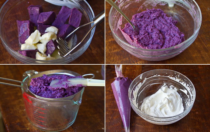 Making the purple sweet potato puree