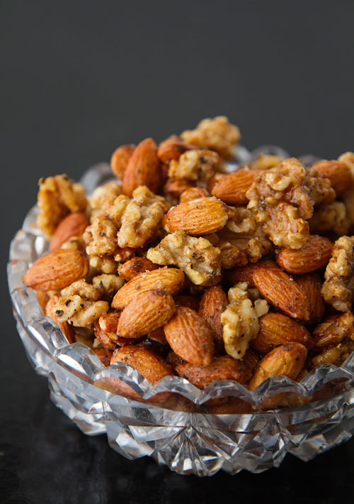 Salt & Pepper Roasted Almonds & Walnuts