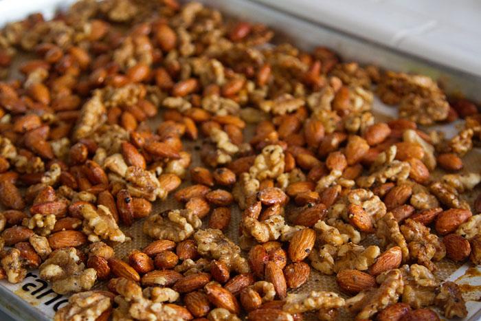 Salt & Pepper Roasted Nuts cooling