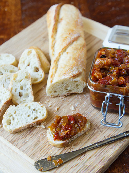 Tomato Bacon Chutney with Baguette Slices