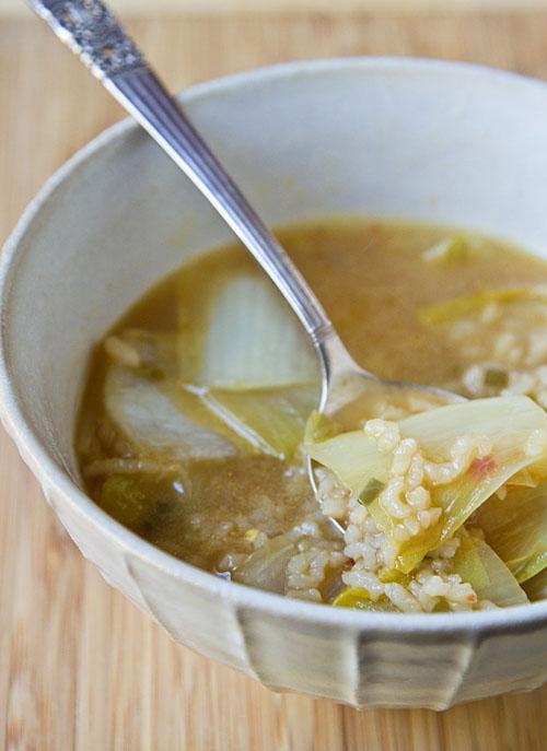 Eating Endive Rice Soup