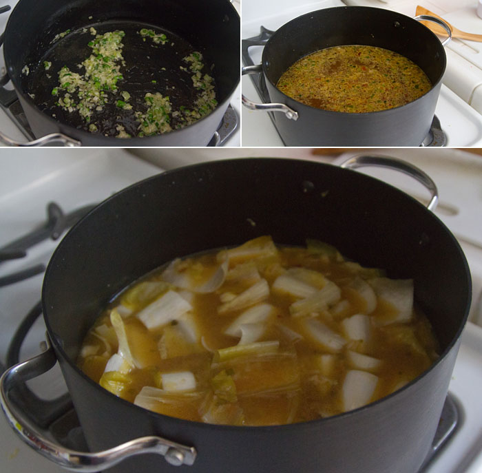 Making Endive Rice Soup